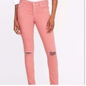 Old Navy Rock Star Mid Rise Coral Distressed Jeans